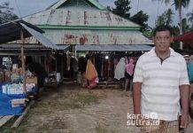 Kades Patande, H Hermanton saat memantau aktifitas pasar warganya.