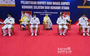 Palantikan Bupati, Wakil Bupati Konawe Selatan dan Konawe Utara di Aulah Rumah Jabatan Gubernur Sultra.