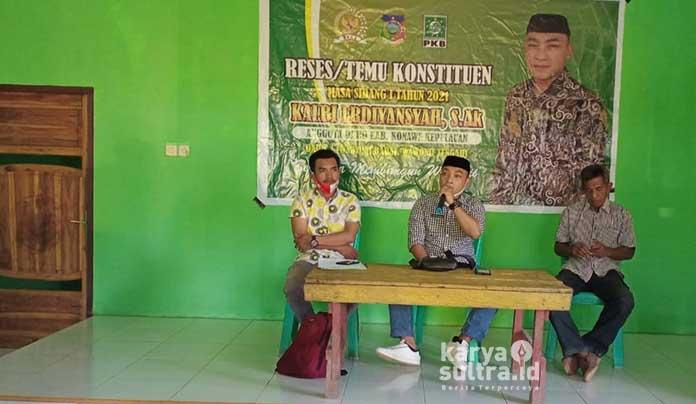 Anggota DPRD Konawe Kepulauan (Konkep) dari Partai Kebangkitan Bangsa (PKB), Kalbi Erdiansyah telah melakukan reses di Kecamatan Wawonii Barat